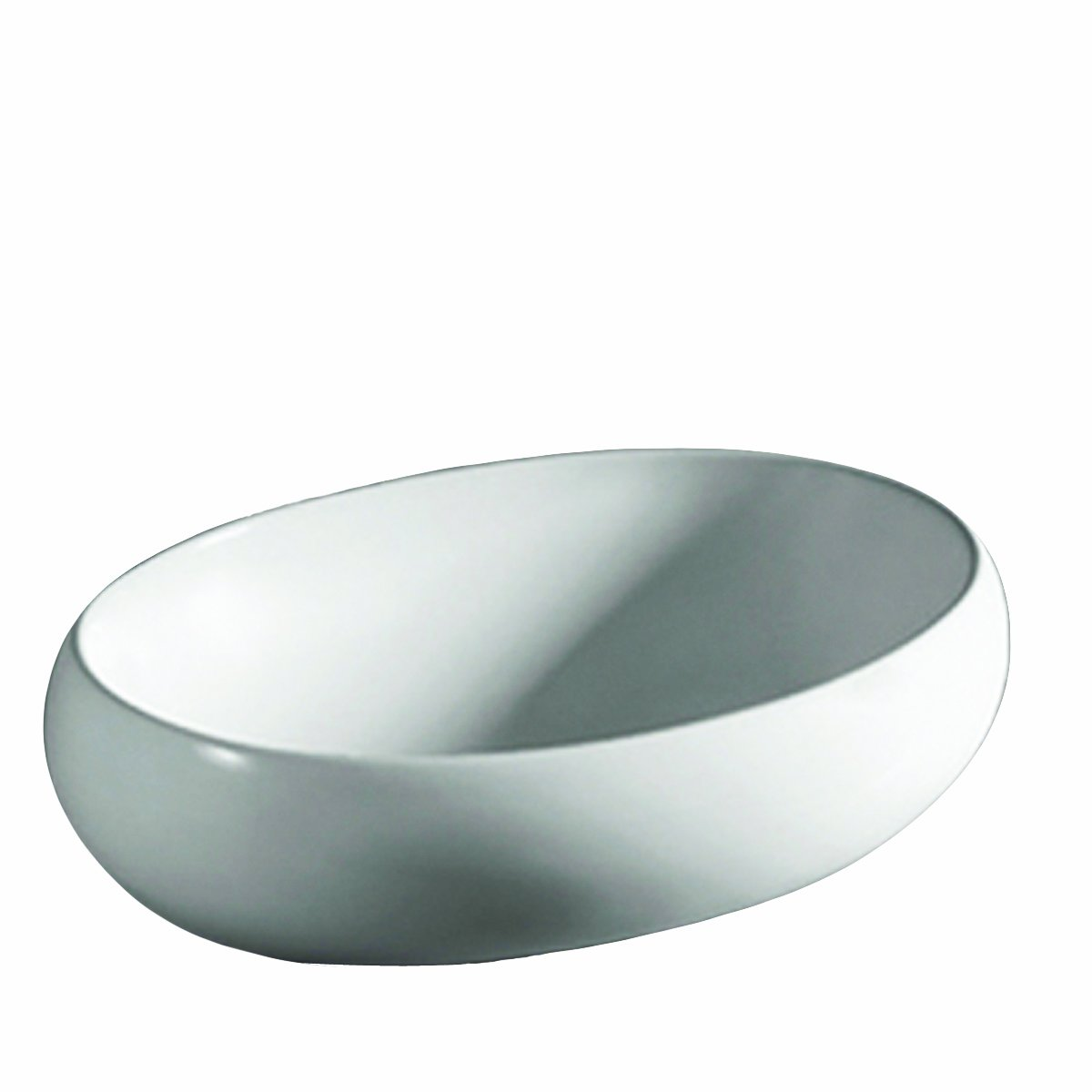 Whitehaus WHKN1091-WH Isabella 23-1 4-Inch Oval Above Counter Lavatory Basin with Center Drain and No Overflow, White