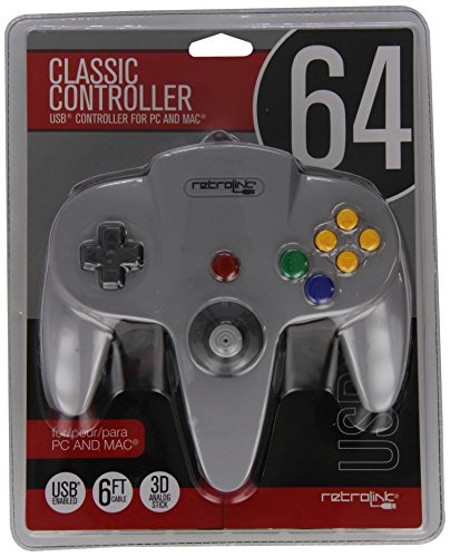Retro-Bit Nintendo 64 Classic USB Enabled Controller (Wired) PC and MAC, Grey - Nintendo 64