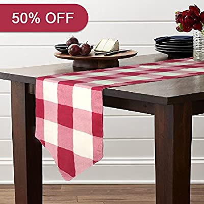 "Lamberia Classical Durable Table Runner - Cotton Canvas Fabric Table Top Decoration 12"" x 72"", Vintage Red and White Checkered -  - table-runners, kitchen-dining-room-table-linens, kitchen-dining-room - 51x 0NVfKhL. SS400  -"