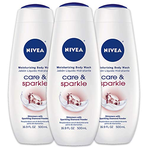 NIVEA Care & Sparkle Moisturizing Body Wash - Floral Scent with Diamond Powder for Normal Skin - 16.9 fl. oz. Bottle (Pack of 3)