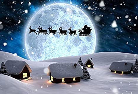 Zhy 7X5FT Santa Claus Deliver Gifts Blue Backdrop Christmas Eve Flying Reindeer Pull Sleigh Moonlight Festival Party Celebration Banner Photography Background Photo Props DSST083