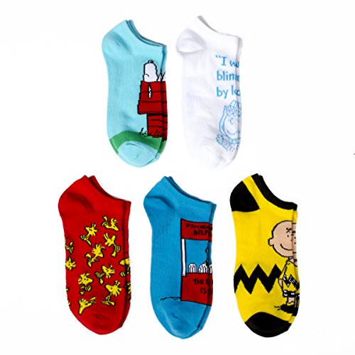 (Peanuts 5-pack Assorted Characters Adult No Show Socks)