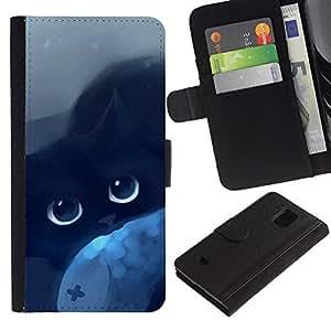 Samsung Galaxy S5 Mini / SM-G800 (Not For S5!!!) , la tarjeta de Crédito Slots PU Funda de cuero Monedero caso cubierta de piel ( Cat Blue Eyes Black Night Drawing Mysticism)