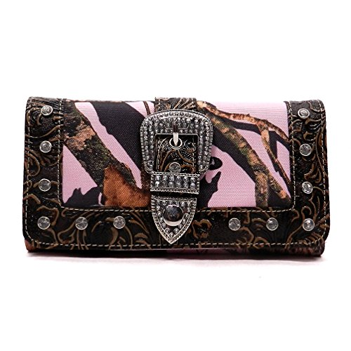 Camouflage Womens Handbag (Realtree Western Buckle Camouflage Womens Trifold Checkbook Wallet (A M-Pink/Coffee Brown))