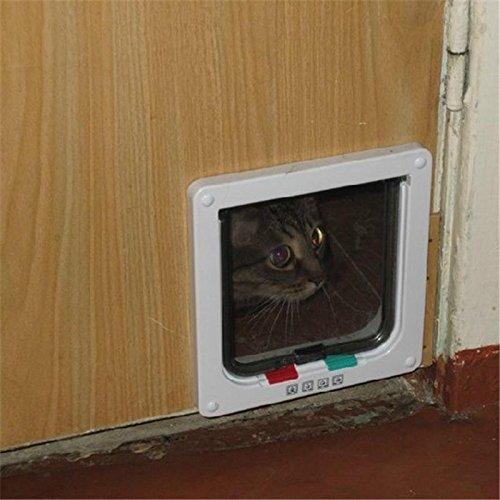 YiFeng 4 Way Lockable Cat Flap Pet Door (Medium, Brown) by YiFeng (Image #5)
