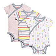 SkipHop Baby Girls' ABC-123 Side-Snap Short Sleeve Bodysuit Set, Pink, Newborn