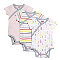 SkipHop Baby Girls' ABC-123 Side-Snap Short Sleeve Bodysuit Set, Pink, Newbor...