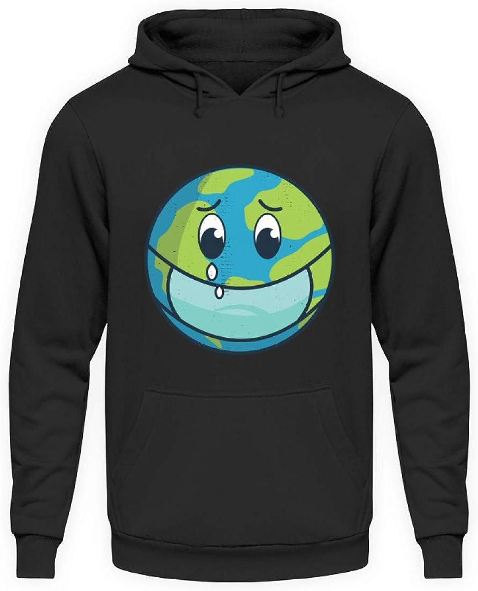 Sudadera genérica con capucha, diseño de globo terráqueo triste, protección del medio ambiente, contaminación natural, corona Covid-19 Virus