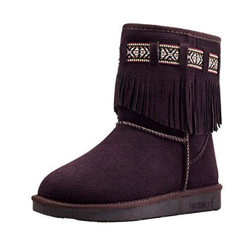 HooH Women's Leather Tassel Warm Snow Boots 5821 Coffee oUl2v