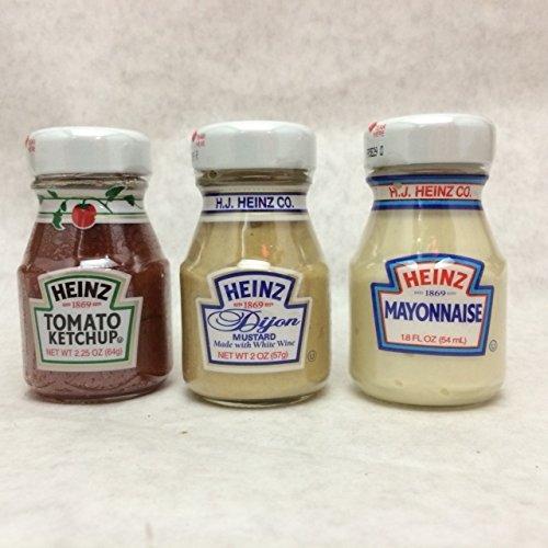 Heinz Glass Condiment Miniatures (Ketchup, Mustard, Mayonnaise), 4 Bottles Each (Pack of 12)