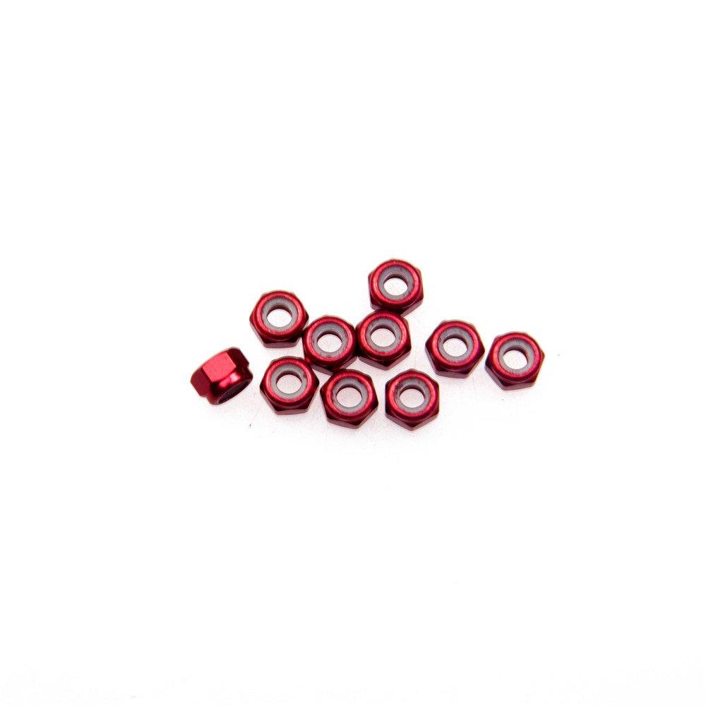 XUNJIAJIE 10 St/ück Rot M3 Aluminium Nylon Sicherungsmuttern Stoppmuttern Muttern