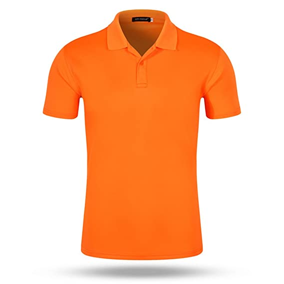 97640e1c6 MTTROLI Cotton Mens Polo Shirts Casual Turn Down Collar Button Slim Muscle Tops  Tee Short Sleeve T- Shirts (L, Orange): Amazon.co.uk: Clothing