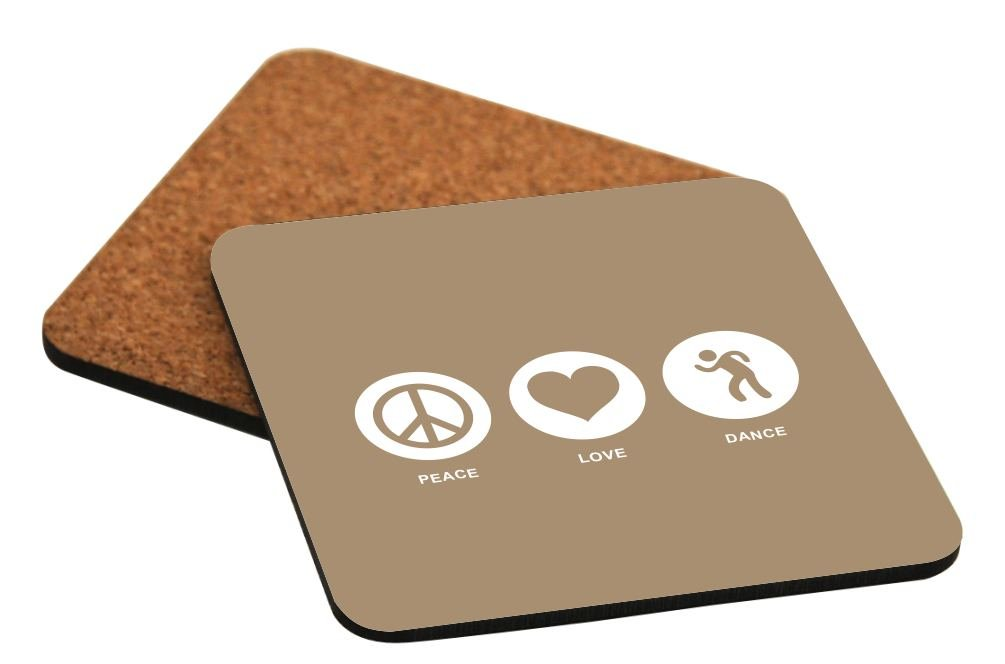 Rikki Knight Peace Love Dance Brown Color Design Cork Backed Hard Square Beer Coasters, 4-Inch, Brown, 2-Pack