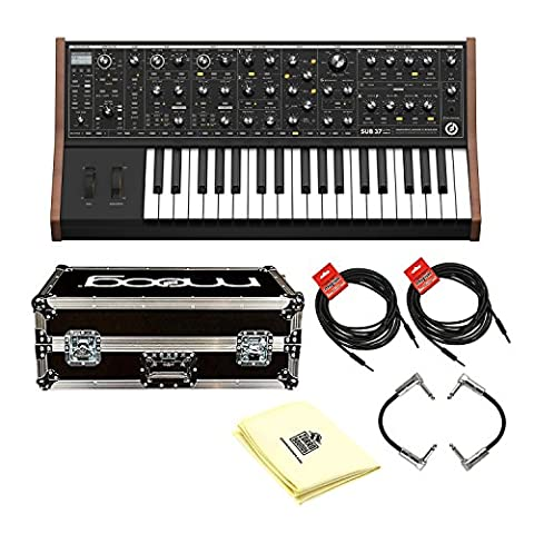 Moog LPS-SUB-002 Sub 37 100% Analog Tribute Edition Analog Subtractive Synthesizer with Road Case, Patch Cables, Instrumental Cables and Polishing (Sub Phatty)