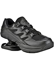 Z-CoiL Pain Relief Footwear Mens Freedom Slip Resistant Black Leather Tennis Shoe
