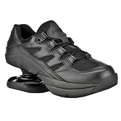 Z-CoiL Men's Freedom Slip Resistant Black Leather Tennis Shoe 8 E US