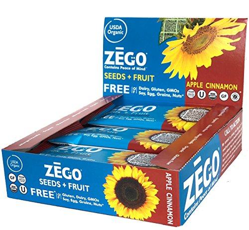 ZEGO Snacks Seed+Fruit Bars: Apple Cinnamon 9 (38g) bars/box Delicious Organic Vegan Gluten Free Snack Great for On-The-Go, Athletes, Adults, Kids, Easy to Digest (Apple Organic Bar)