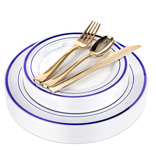 Blue Plastic Party Plates and Gold Plastic Silverware - 125 Piece Blue Rim Reusable Plates and Disposable Cutlery for Event, Reception, Buffet - Service for 25 Guests Disposable Wedding Plates - Buffet Plate Gold