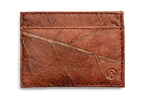 Leaf Leather Slim Wallet - Minimalist Handmade Card and Cash Holder - Brown