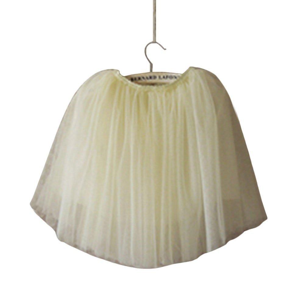 LUQUAN Girls Gauze Skirt 130cm,Beige