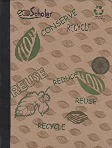 iScholar ecoScholar Recycled Composition Notebook, Khaki Design, 100 Sheets, Wide Ruled (40444)