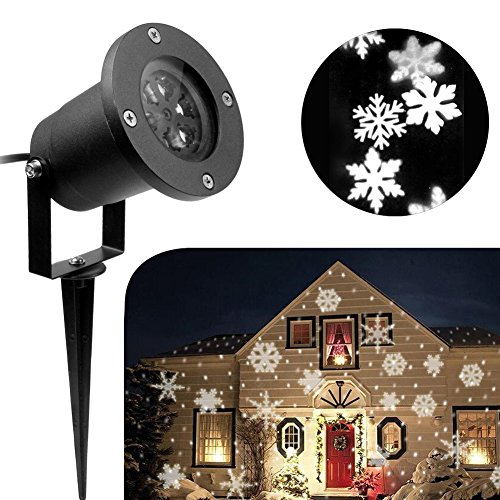 KOOT Christmas Light, Halloween Snowflake Decorations Outdoor Waterproof LED Light Projector White Moving Snowflake for Landscape Garden Holiday Party Decoration