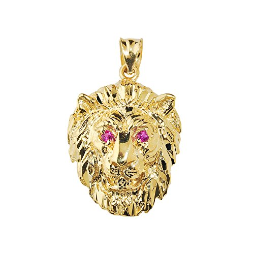 Solid 14k Yellow Gold Leo Zodiac Sign Charm Lion Pendant