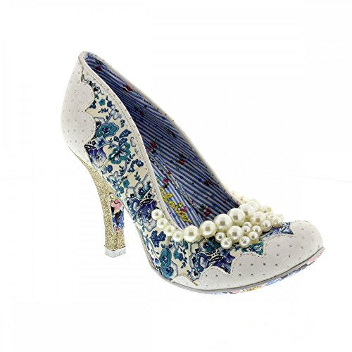 Irregular Choice Suede Heels - Irregular Choice Womens Pearly Girly High Heels Floral Court Shoes - White - 9.5