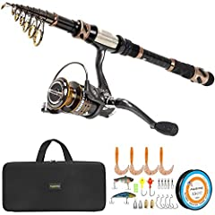 PLUSINNO Fishing Rod and Reel Combos - Carbon Fiber Telescopic Fishing Pole - Spinning Reel 12 +1 Shielded Bearings Stainless Steel BB,Travel Saltwater Freshwater FULL KitFishing Rod Features:1.PLUSINNO Telescopic Fishing Rod are constructed ...