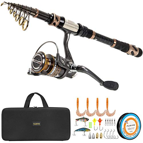 (PLUSINNO Fishing Rod and Reel Combos -24 Ton Carbon Fiber Telescopic Fishing Pole - Spinning Reel 12 +1 Shielded Bearings Stainless Steel BB-Free Carrier Bag Case, Travel Saltwater Freshwater Fishing)