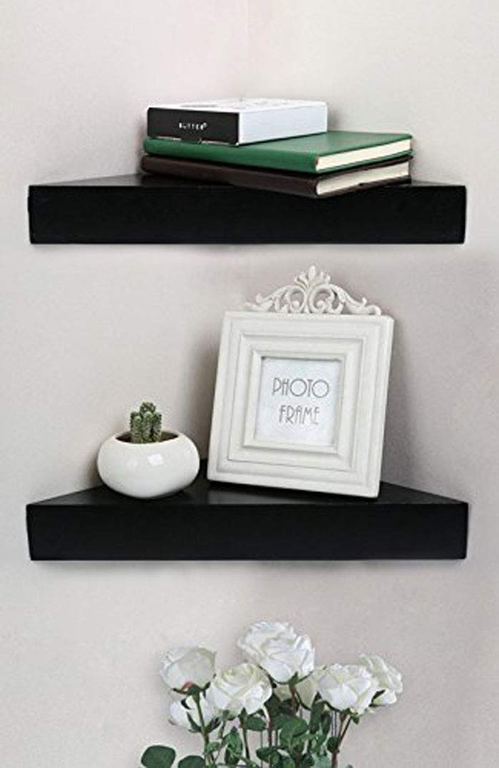 SHELVING SOLUTION Corner Wall Shelf, Set of 2 (Mordern Black)
