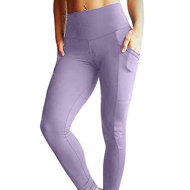 OHQ Leggings De Yoga Pour Femmes Avec Poche Couleur Unie Pantalon Jogging  Femmes 70a385c2119