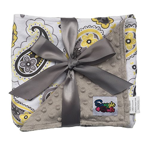 Girls Reversible Minky Dot Stroller Blanket Yellow Paisley