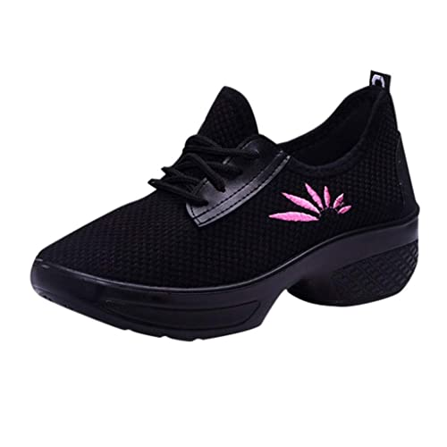 bdcaf70698d01 vermers Women Casual Sport Shoes - Fashion Walking Flats Increasing Mesh  Embroidery Wedges Shoes
