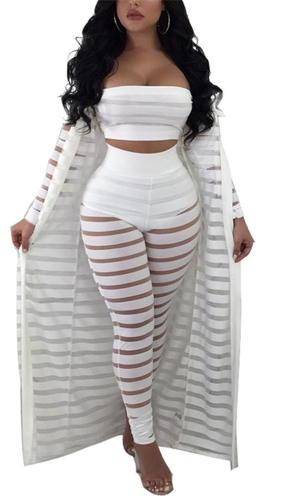 VLUNT Women 3 Piece Outfit Tube Crop Top Long Kimono Cardigan Cover Up and Bodycon Pants Suit Set, White-L