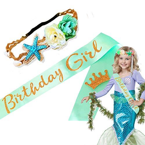 JeVenis Luxury Little Mermaid Crown with Birthday Girl Sash Set Mermaid Headband Blue Satin Birthday Girl's Sash for Mermaid Birthday Party Supplies -