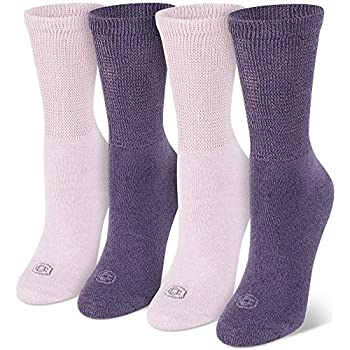 Doctor's Choice Women's Non-Binding Circulatory Diabetic 4 Pack Cushioned Crew Socks, Marled Pink & Purple, Shoe Size 4-10