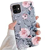 Electronics : YeLoveHaw New iPhone 11 Case for Girls, Flexible Soft Slim Fit Full-Around Protective Cute Shell Phone Case Cover with Purple Floral & Gray Leaves Pattern for iPhone 11 6.1 Inch (Pink Flowers)