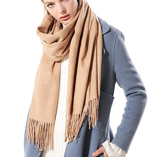 Womens Thick Soft Cashmere Wool Pashmina Shawl Wrap Scarf - Aone Warm Solid Color Stole(Light ()