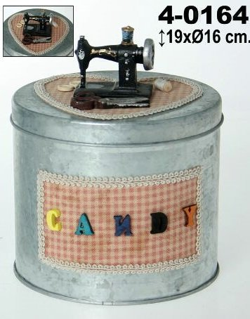 DonRegaloWeb - Costurero redondo decorado con una maquina de coser sobre una tela con forma de