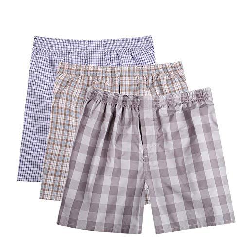 Men's Woven Boxer Shorts Cotton Trunks Button Plaid Briefs Checkered Underwear Multipacks B-01X - Woven Boxers Mens