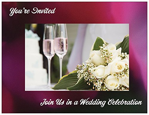 Champagne Glasses Wedding Invitations with Envelopes -25/pack -