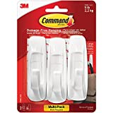 BOX USA BCHS1009 3M 17003 Command Value Pack, Large, White, 3 Hooks and 6 Strips (Pack of 6 Packs)