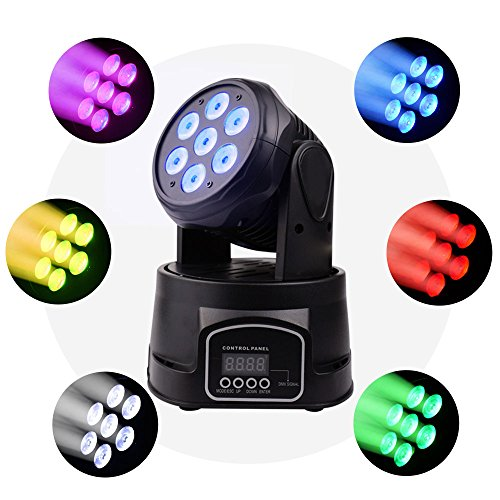 BETOPPER Moving Head Stage Light, 7x8W RGBW 4 in 1 Moving Heads DJ Lighting, DMX512 Mini LED Moving Head Light for Disco Wedding Event Show