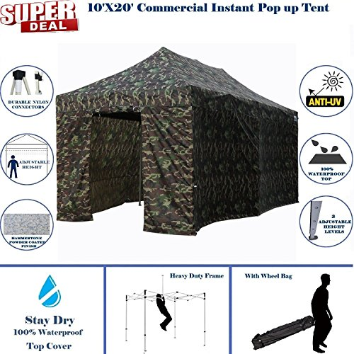 10'x20' Pop UP Canopy Wedding Party Tent Instant EZ Canopy Camouflage - F Model Commercial Grade Frame By (Camouflage Canopy)