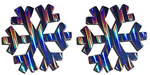 Two Holographic Snowflake Magnets (Striped) ()