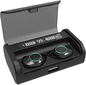 2021 Newest Dual Digital Display Bluetooth 5.0 Earbuds 4000mAh Charging Case 180H Playtime IPX7 Waterproof 9D Surround Stereo Hi-Fi Sound,Smart Touch Control, Built-in Mic in-Ear Sports Earphone (Black)