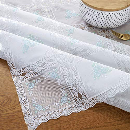 (CLFAF Eco-Friendly PVC Tablecloth,semi-Transparent Lace Embellished&Embroidered Table Cover,Anti-scalding Waterproof Disposable Fabric Tea Table Rectangular Parties-Orchid 54x79inch)