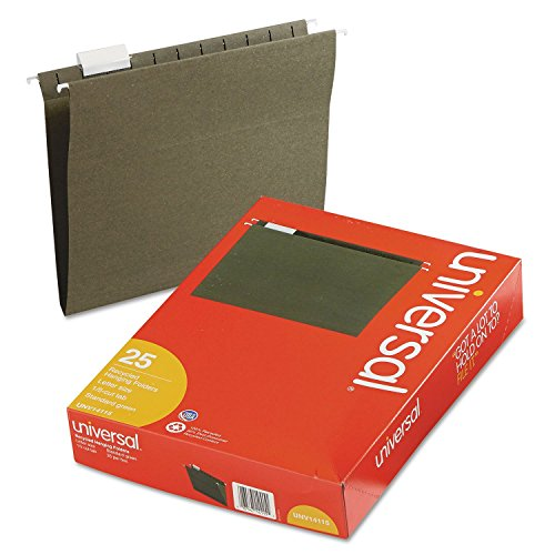 Universal 14115 Hanging File Folders, 1/5 Tab, 11 Point Stock, Letter, Standard Green, 25/Box