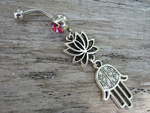 Lotus Flower Hamsa Belly Button Ring, ROSE PINK Barbell Ball Crystal, Antiqued Silver Buddhist Hindu Body Piercing Jewelry - Antiqued Rose Ring